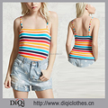 Hot Selling Women's Straight Neckline Multicolor Striped Cropped Beach Wear Cami Tops