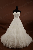 Very Full Skirt Bridal Wear Puffy Long Tail Beaded lace A-line Wedding Dress