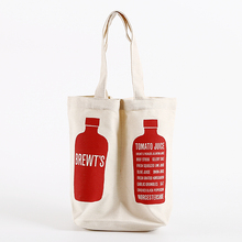 Wholesale promotion Cotton Canvas 2 bottle Wine Tote Bag