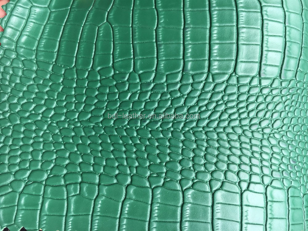 Crocodile PVC artificial leather for bags.2017 good quality leather supplier
