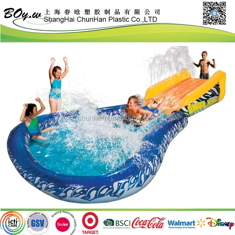 factory fashion kids water play sledge slide pool pvc inflatable Banzai Cannonball Splash Water Slide
