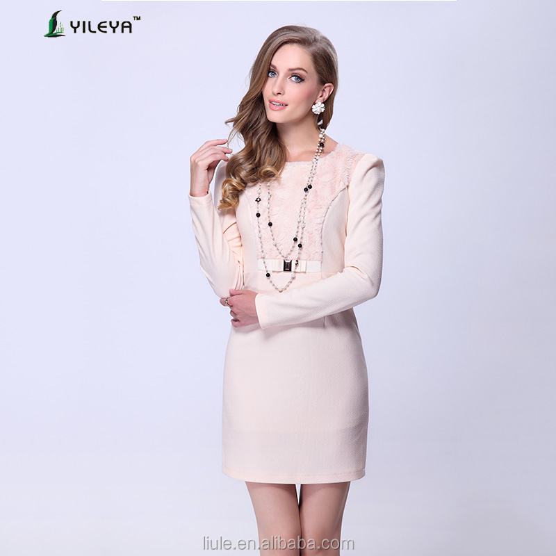 2015 long sleeve noble white new design dress ladies flapper dress