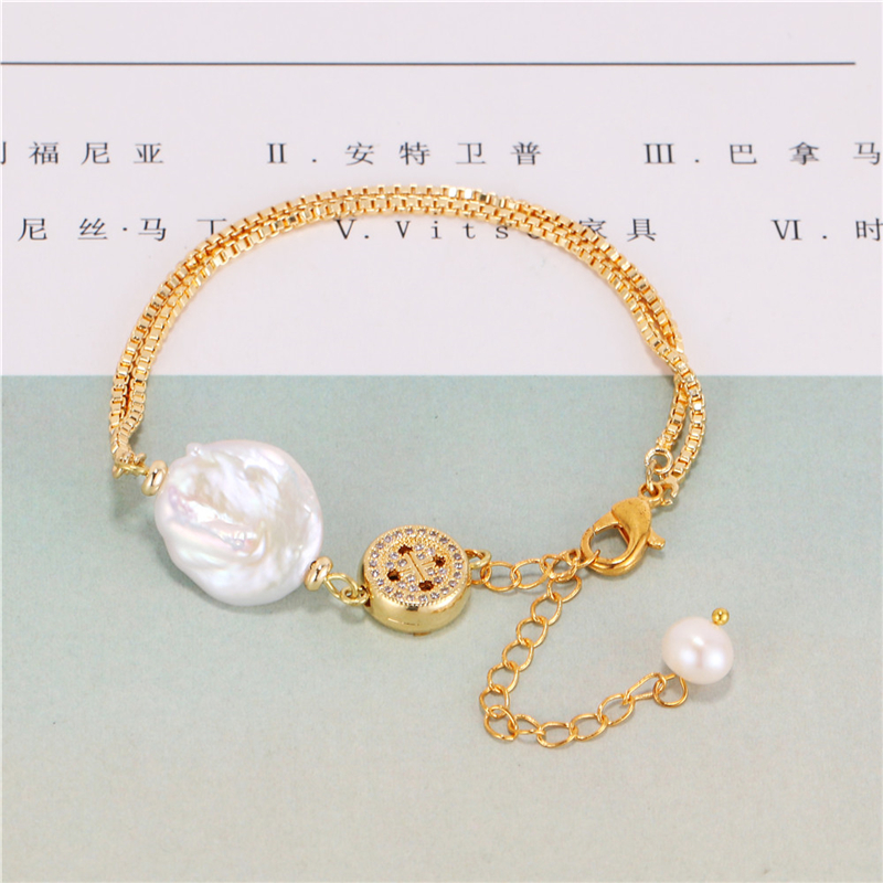 China wholesale 24k gold plated fashion adjustable pearl jewelry pendant charm bracelet bangle for women