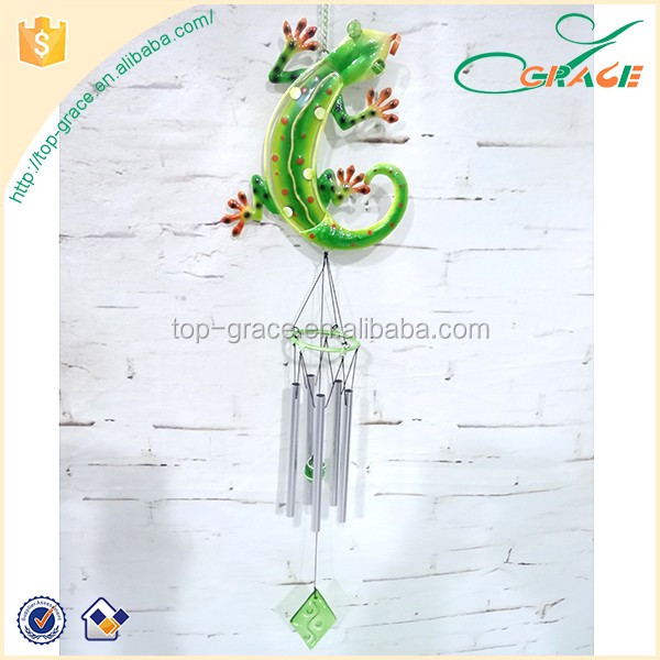 Craft iron with glass gecko wind chime