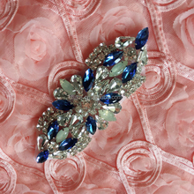 Best selling wedding garment accessories Bling Sapphire Decoration Crystal Rhinestone Applique Designs embellishments for bridal