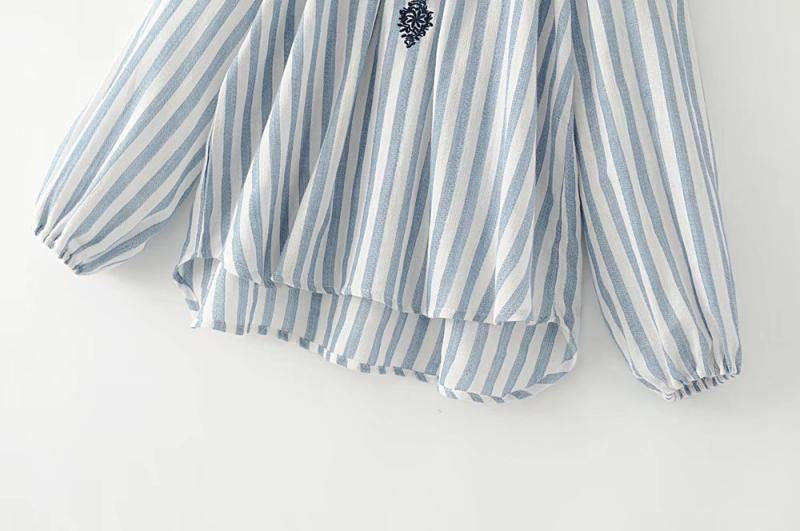 Latest embroidery linen women blouse blue and white striped loong sleeves off-shoulder autumnplus sizes wear