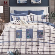 Classic king size plaid ribbon work designs sheets bed hand embroidery designs for bed sheets