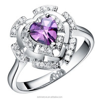 Silver Plated Purple Fake Diamond Heart Engagement Ring CRI0045-B