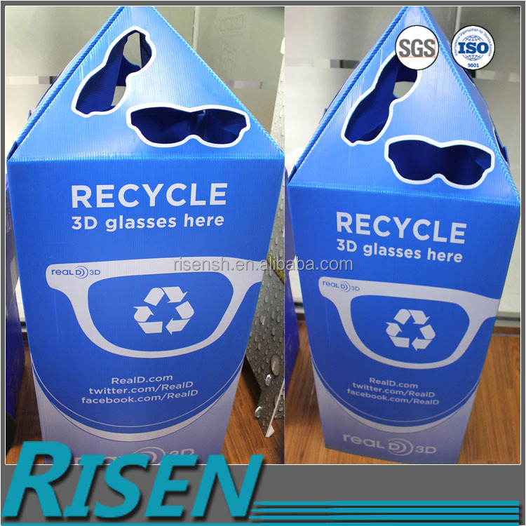 3D glasses recycled storage fireproof pp corflute plastic box