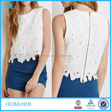 Wholesale Ladies Sleeveless Blouse White Flower Lace Crop Top