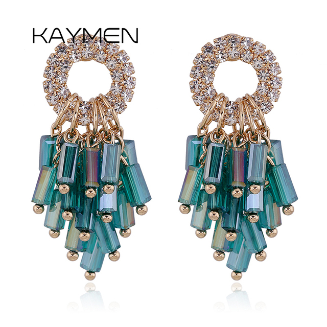 Kaymen Handmade Gold Plated Earring With Shining Rhinestone and Crysta Stud Earrings for Women Fashion Jewelry Bijoux