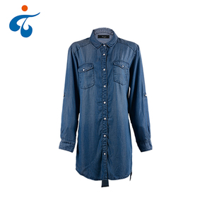 Hot selling soft solid color long sleeve stone washed casual denim shirt dress