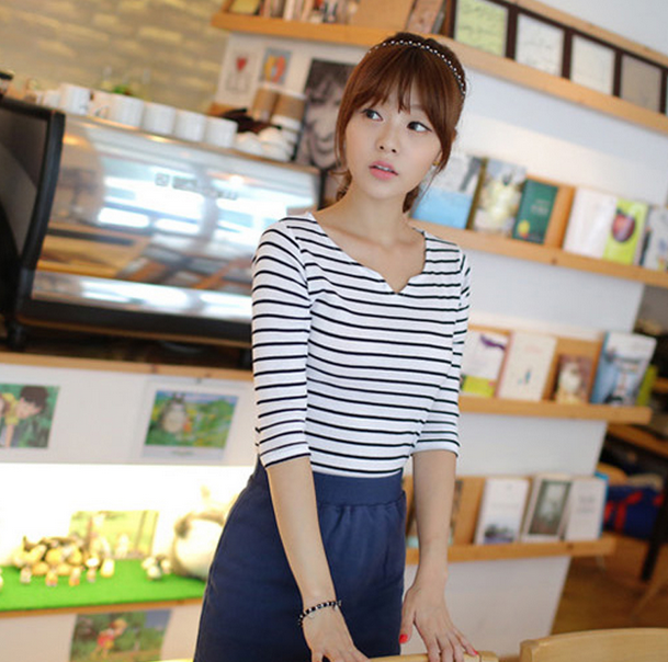 Fashion design v neck t shirt for women with striped, Online shopping china clothes