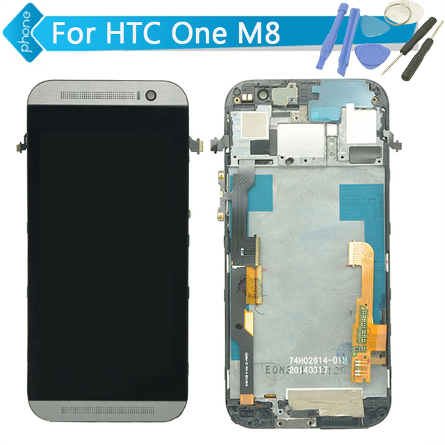 For HTC One M8 LCD Display Touch Screen Digitizer with Frame Assembly black/ white/ gold + Tools