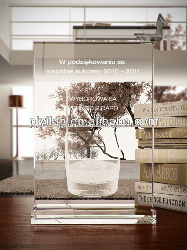 new design 3d customer logo laser engravable k9 crystal award plaque