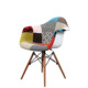Johoo Italy Design Wooden Legs Leisure Chair Patchwork Plastic Dining Chair