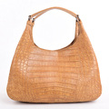 Luxury genuine crocodile belly hobo bags brown