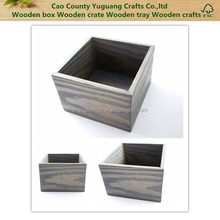 High quality antique 6x 6x 4 inch handmade wood box,rustic stained classic gray wooden storage tray