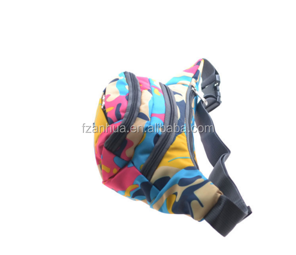 colorful striated polyester waist bag military for wowen