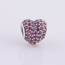European style heart 925 sterling silver zircon pave bead