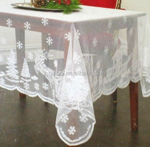 100% polyester printed and christmas lace table topper white
