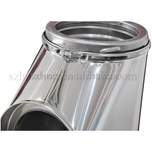 Ce de doble pared de acero inoxidable de 90 grados accesorios de tuber a tubo tee con - Tubos chimenea acero inoxidable precios ...