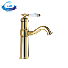 Gold Plating Single Handle Long spout Water Tap Classic Brass Basin Faucet XR-GZ-7605K