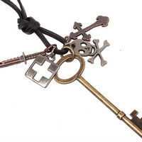 Personality Leather Cord Necklace Key Charms
