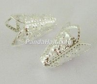 Silver Plated Flower Iron Bead Caps, Filigree Bead Cone, 10mmx16mm, hole: 1.5mm(E047Y-S)