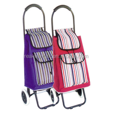RW6208C China Shopping Bag Factory Supply Portable Folding Shopping Trolley Bag With Wheels With Stripe Design Front Pocket