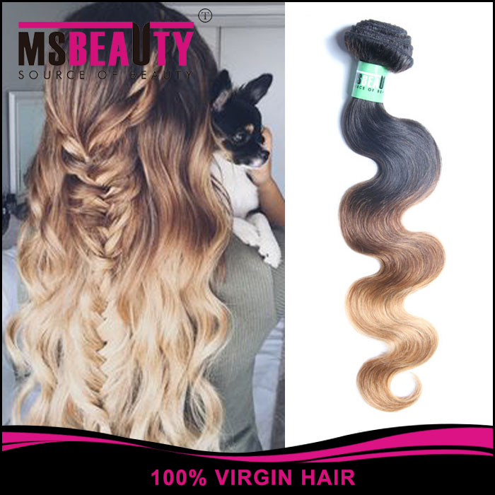 Soft Hair Products big discount cheap 3 pcs lot ombre human hair weft colored three tone body wave