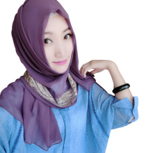 Wholesale many colors available Pearl Chiffon Muslim Scarf Hijab with Jewelry