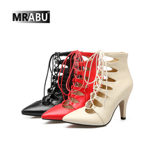 cheap wholesale china shoes cross strap pointed toe pu upper summer sandals leather women boots