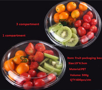 3 compartment plastic round salad container/ dry food storage container/fruit storage box with compartments