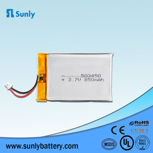 IEC62133 UN38.3 UL Approved 503450 3.7v 850mah lipo battery cell for Headset