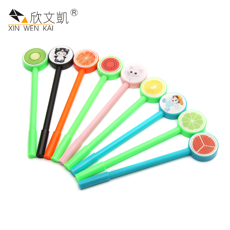 Students Stationery Fruits Pattern Korean Fancy Colorful Fashion Gel Pen With Cap