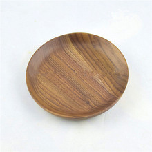 6 Inch Round Natural Walnut Wooden Cake Serving <strong>Plate</strong>