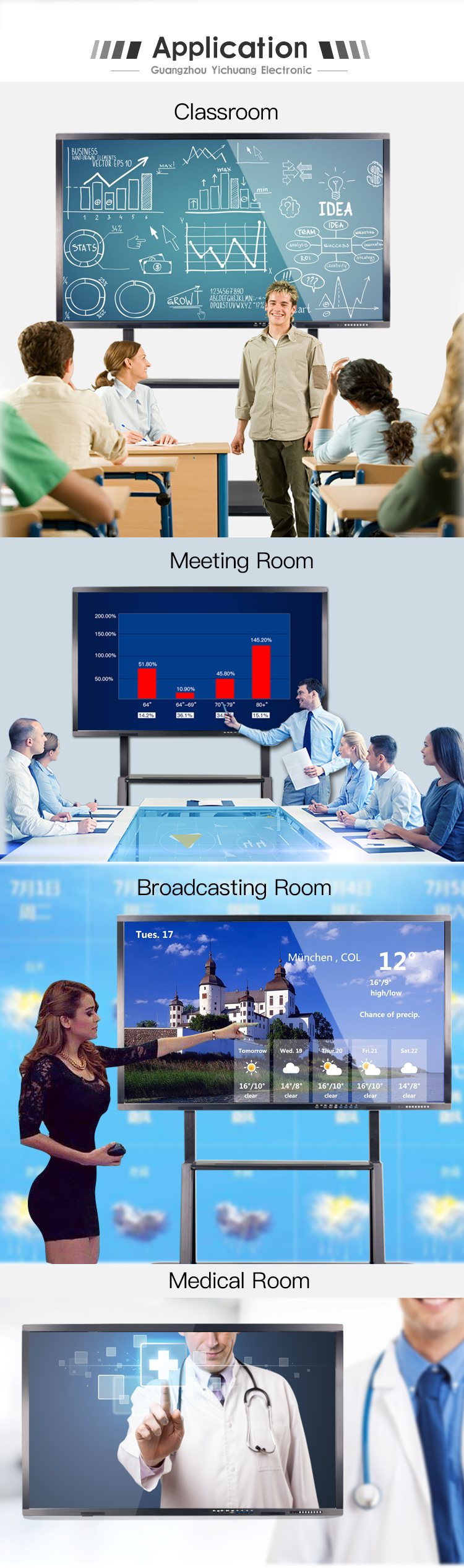 86inch  tempered glass touch screen education interactive smart board