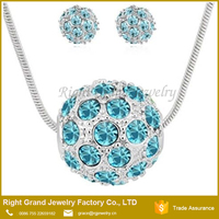 Purple Aquamarine Shamballa Crystal Jewelry Set Crystal Set Necklace Earrings