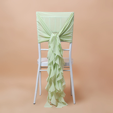 Factory made chiffon fancy ruffled chair sashes for beach weddings