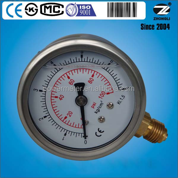 63mm 2.5 inch diameter half stainless steel hydraulic oil temperature gauge double marking 7 kg 100psi
