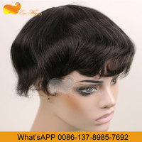 Eseewigs Stock Black Men and Women Real Indian Remy Human Hair Swiss Lace and Super Thin Skin Toupee Wig Human Black Gray Hair