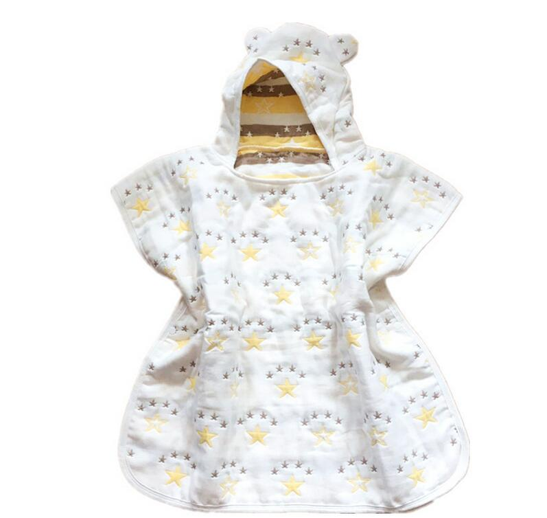 Soft baby muslin hooded poncho towel bamboo shower towel