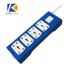 8 Sockets Universal Electrical Blue Power Strip With Shutter