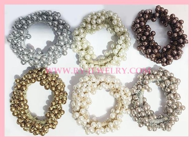 Ladies Pearl bead with lurex elastic hair bands