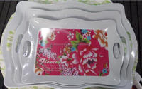 2016 hot sale custom design bottom printing melamine serving trays with handle