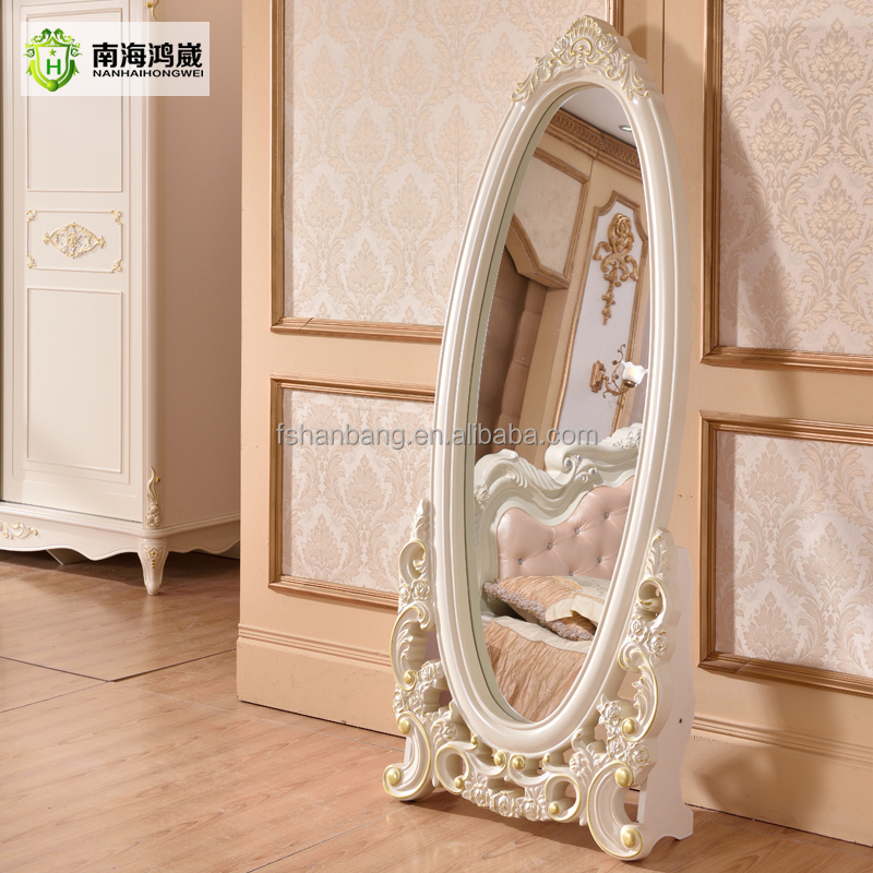 Decorative White Silver Oval Wooden French European Classic Baroque Style Bedroom Floor Stand Full Length Dressing Room Mirror