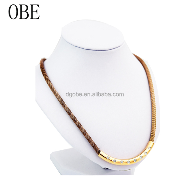 OBE Brand New arrival European Style stainless steel handmade chunky crystal necklace