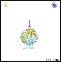 925 Sterling Silver Colorful Enamel Pearl Cage Pendant Necklace Costume Jewelry