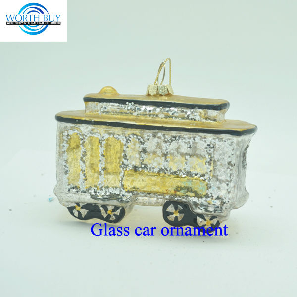Vintage silver glass double-decker bus ornament,hand blown glass christmas tree ornament